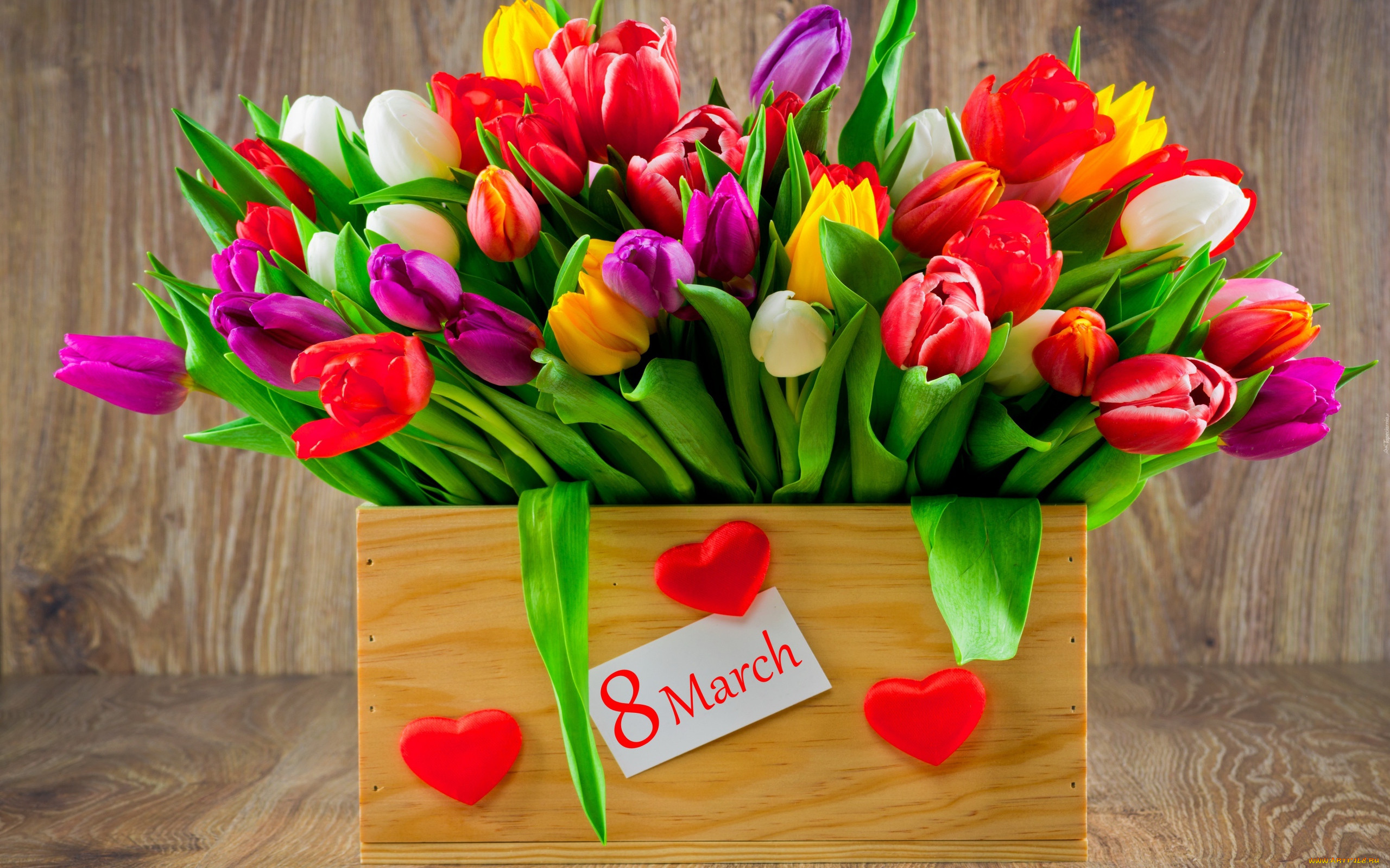 Открытки букет цветов 8 марта